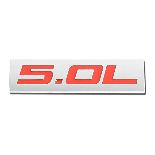 UrMarketOutlet 5.0L Red/Chrome Aluminum Alloy Auto Trunk Door Fender Bumper Badge Decal Emblem Adhesive Tape Sticker