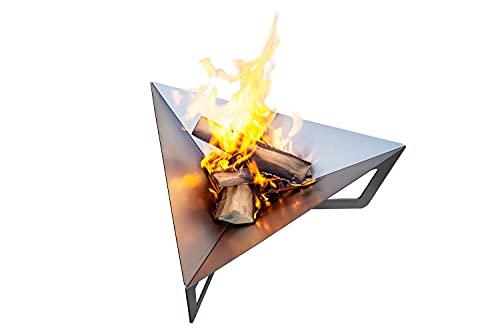teileplus24 FS04 Feuerschale Feuerstelle Feuerkorb aus Stahl   Massiv   Modernes Design mit Wasserablauf und Belüftungssystem   Platzsparend Zerlegbar, Größe:Dreieck L