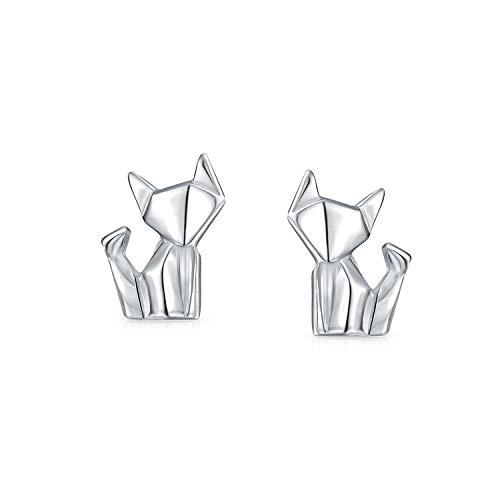 Winzige Geometrische 3D Origami Katze HaúStier Kätzchen Kätzchen Ohrstecker Für Frauen Für Teen Poliert Finish 925 Sterling Silber