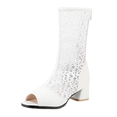 MISSUIT Damen Blockabsatz Sommerstiefeletten mit Lochmuster Peeptoe Sommerstiefel Reißverschluss Schuhe(Weiß,39)