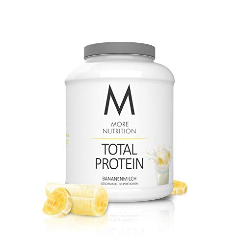 MORE NUTRITION Total Protein (1 x 1500 g) - Whey Eiweißpulver mit Casein, Aminosäuren und Laktase für Muskelaufbau (Bananenmilch)