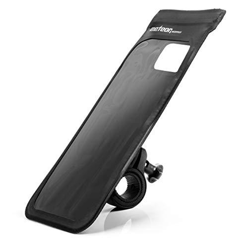 meteor Soporte para Manillar de Bicicleta y Moto 360 Rotación para Todos los moviles hasta 6 Pulgadas - Impermeable Funda para Bici - con Sensible Pantalla táctil - para Ciclismo (Crib, Negro)