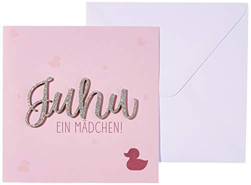 Karte zur Geburt Lettering - Juhu ein Mädchen! - 15 x 15 cm