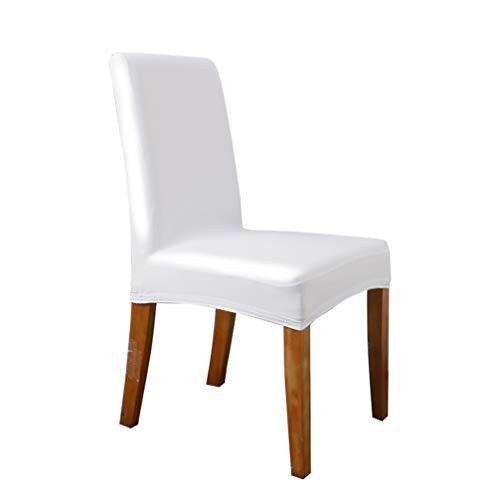 LIOOBO Funda de silla extensible de piel sintética resistente al agua, extraíble, para hoteles, banquetes de boda, color blanco