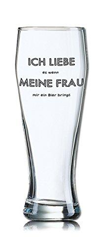 PorcelainSite Geschenkideen GmbH Lustiges Bierglas Weizenbierglas Bayern 0,5L - Dekor: ICH Liebe es wenn Meine Frau Mir EIN Bier bringt