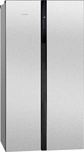 Bomann SBS 7308 IX Kühl-Gefrierkombination Side-by-Side/EEK A+/ Kühlen 335 L/Gefrieren 175 L/Höhe 178.8 cm/Breite 89, 5 cm/ 405 kWh/Jahr/LED Frontdisplay/Total No Frost/Edelstahl-Optik
