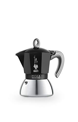 Bialetti New Moka Induction, Cafetera apta para inducción, 4 tazas, aluminio, Negro