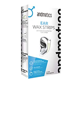 andmetics EAR wax strips: Ohren Kaltwachs Enthaarung Streifen fürs Gesicht, perfekte Form zum Wachsen der Ohren, ohne mit Warmwachs zu reizen