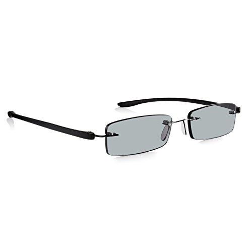Read Optics Lese- und Sonnenbrille +1,0 bis +3,5 Dioptrien: Für Damen/Herren in randlosem patentiertem SecureLoc Stil. Stabil und leicht, mit schwarzen Bügeln und kratzfesten Rayguard™ UV-400 Gläsern