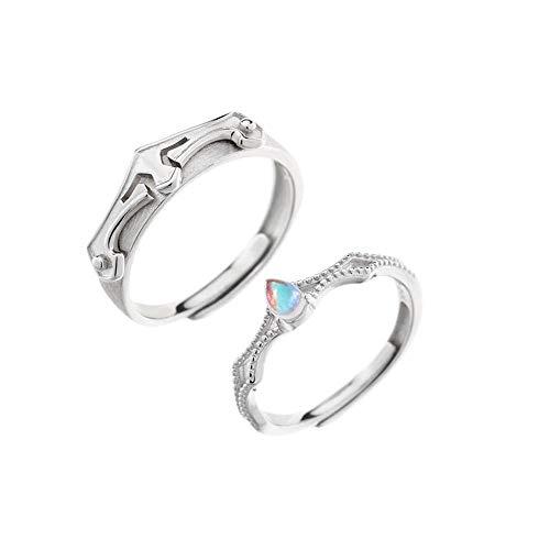 『K.L.Y <愛の証>ペアリング 王女と騎士 指輪2個セット レディースリング メンズリング純銀指輪 キラキラ結婚指輪 婚約指輪 フリーサイズ』の1枚目の画像