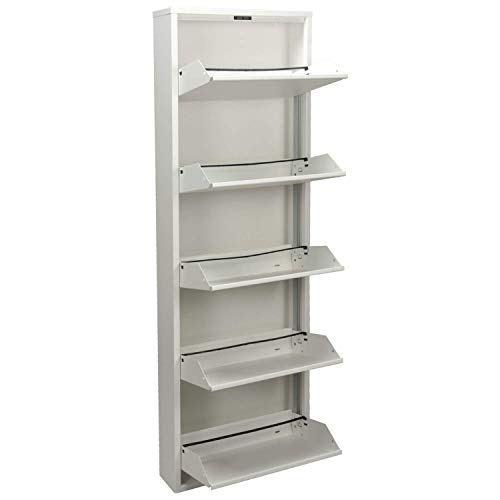 DRW - Mueble Zapatero de Metal de 5 cajones en Color Blanco Mate