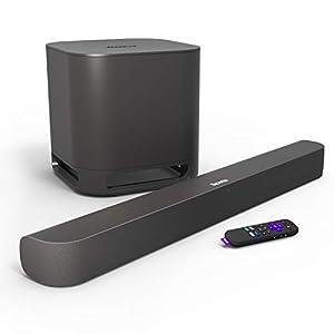 Roku Smart Soundbar, 4K/HD/HDR Streaming Media Player & Exceptional Audio, Includes Roku Voice Remote + Roku Wireless Subwoofer