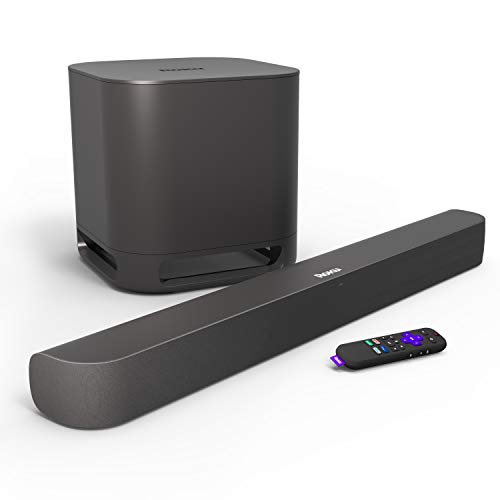 Roku Smart Soundbar, 4K/HD/HDR Streaming Media Player & Exceptional Audio, Includes Roku Voice Remote + Roku Wireless Subwoofer