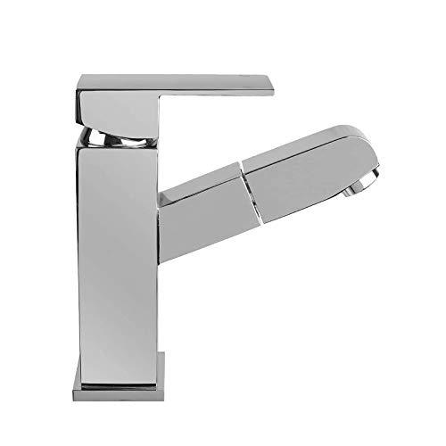 HOMFA Waschtischarmatur Wasserhahn Ausziehbare Bad Waschtisch-Einhebelmischer Küchenarmatur mit Schlauchbrause aus Chrome 3/8 Zoll-Standard-Port