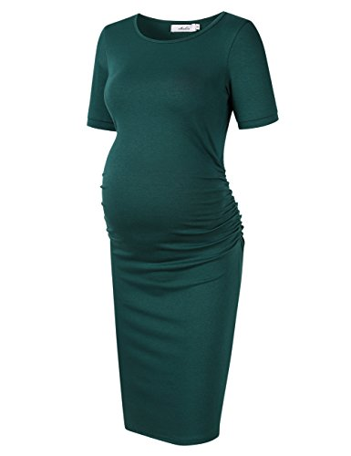 Coolmee MissQee Ruched Maternity Dress Round Neck Maternity Dress Short Sleeve...