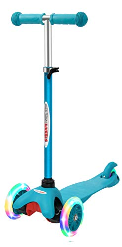 ChromeWheels Scooter for Kids, Deluxe 3 Wheel Scooter for Toddlers 4 Adjustable Height Glider with Kick Scooters, Lean to Steer with LED Flashing Light for Ages 3-6 Girls Boys, Aqua