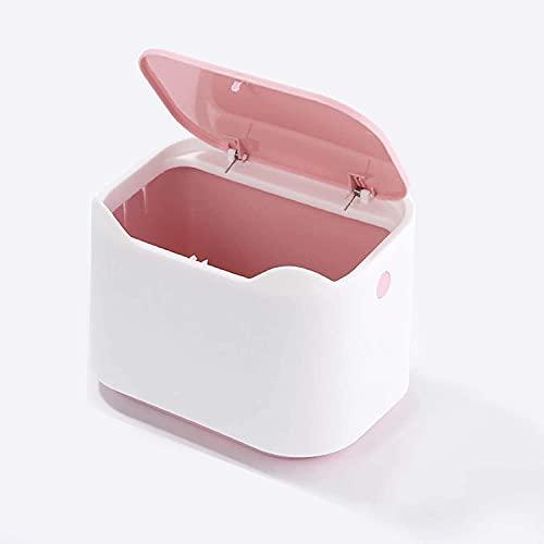 Cubo Basura de Mesa con Tapa, 2L Mini Papelera Escritorio, Cubo de Basura de Mesa Plastico, Bote de Basura Portátil, Bote de Basura Reciclaje Trash Can Usado en Oficina, Cocina, Baño, Car (Rosa)