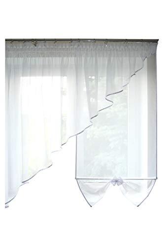 FK-Lampem TOP Fertig-Gardine aus Voile NEU Top Design Set Schöne Küche-Gardine mit Kräuselband AG29 Modern (Weiß)