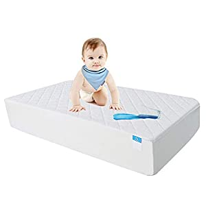 "Crib Mattress Protector Organic Bamboo, Waterproof Quilted Fitted Sheet with 28"" x 52"" Crib Mattress Cover Pad by Safe and Sound"