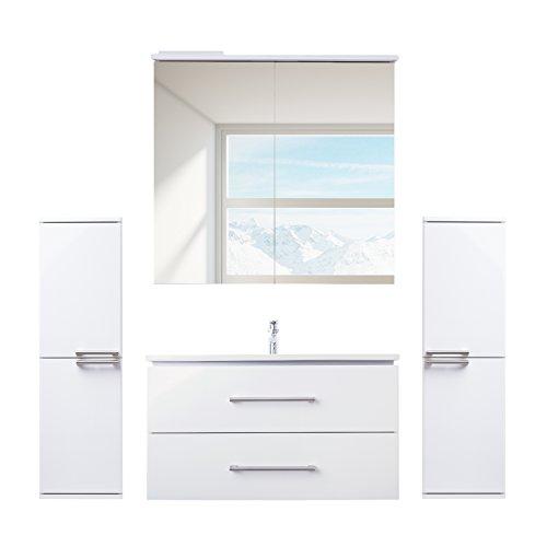 ZLATA badrumsmöbler set 5 st. med tvättställsskåp, keramik tvättbord, LED-spegelskåp och 2 x mellanrum | mått (fack för vikt): 65 cm x 55 cm x 45 cm (BxHxT) | Märke JUVENTA * Serie ZLATA | högklassig keramiktvättställ | möbel med utmärkt högglans lac