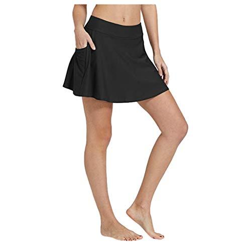 TUDUZ Mujeres Bikini Falda de baño Tankini Pocket Vestido Corto de Playa Traje de baño Pantalones