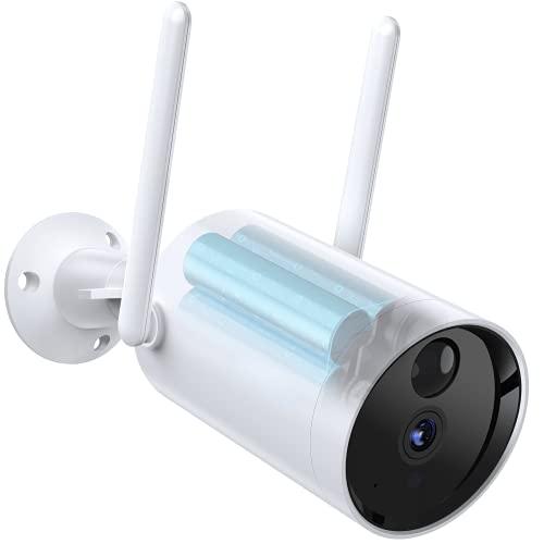 Cámara Vigilancia Wifi Exterior con Batería de 10400 mAh, 1080P Cámaras Vigilancia Domicilio Wifi, Detección de Movimiento PIR, Visión Nocturna, Audio Bidireccional, Impermeable IP66, Alerta por Móvil