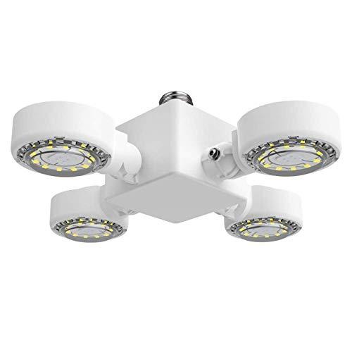 SANSI 30W LED Garage Light - 3000Lumens 5000K Daylight E26 Deformable LED Garage Ceiling Light, Basement Light, Workshop Light with 4 Adjustable Panels for Factory, Warehouse, Barn