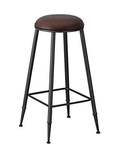 Taburetes de bar industriales vintage, taburete de bar redondo con asiento de cojín de piel sintética con reposapiés de metal negro y sillas de mostrador de cocina de base para cocinas de pub Jardín