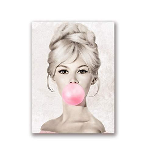 SDFAF Wandkunst Bild Audrey Hepburn Kaugummi Wandkunst Leinwand Mode Poster Brigitte Bardot Drucke Wohnkultur 40X60 cm Ohne Rahmen
