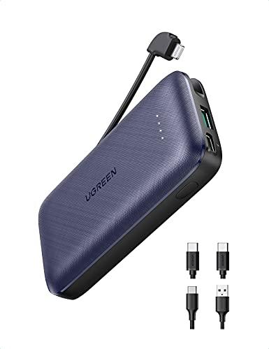 UGREEN Mini 10000mAh Powerbank 20W USB C Power Bank mit integriertem MFi-zertifiziertem Lightning Kabel klein externer Akku mit 2X USB-C Kabel kompatibel mit iPhone 13, 13 Pro, 12 Mini, SE 2020 usw.
