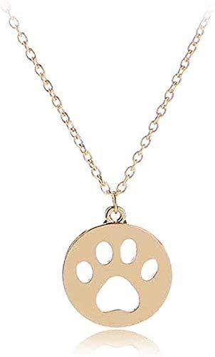 Collar Colgante de pata de perro Collar en hueco Cachorro Garra de gato Collares Joyas con dijes Collar de amante de mascotas Oro Oro