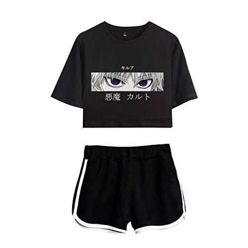 Hunter X Hunter Tshirt und Hosen Damen, Teenager Mädchen Killua Eyes Hisoka Shirt und Shorts Anime 3D Druck Sommer Crop Tops Anzug Bauchfrei Oberteile Kurze Tank Top Kurzarm Blusen T-Shirt (A1,L)