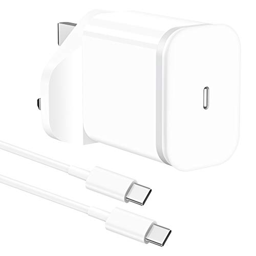 LUOATIP 20W 6FT USB C Fast Charger, Charging Cable Cord 2M with PD Wall Plug Adapter UK Mains Lead for iPad Pro 12.9 11 Gen 4/3/2/1 Note 10 2018/2020 Samsung Galaxy S20, Google Pixel 3A XL 2XL 3XL 4XL