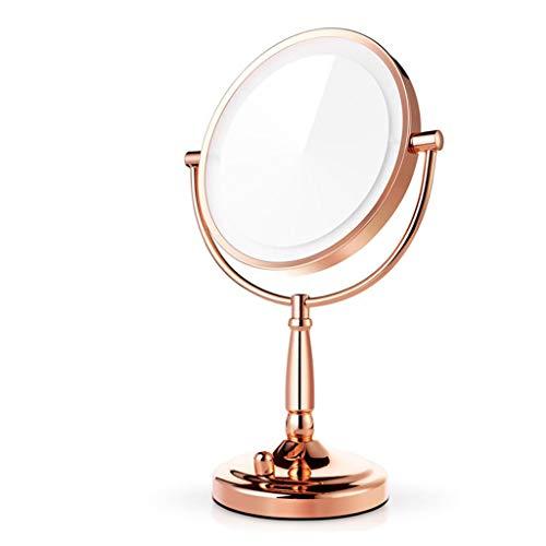 Miroir de maquillage LHY LED Miroir de Bureau éclairé Grand Miroir de courtoisie Double Face Miroir de Mariage Princesse avec Miroir Lumineux La Mode