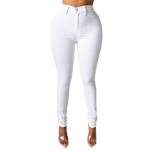 Xmiral Jeans für Damen Einfarbige Tasche Jeans Hose mit Hoher Taille Dünne Bleistifthose(b-Weiß,S)