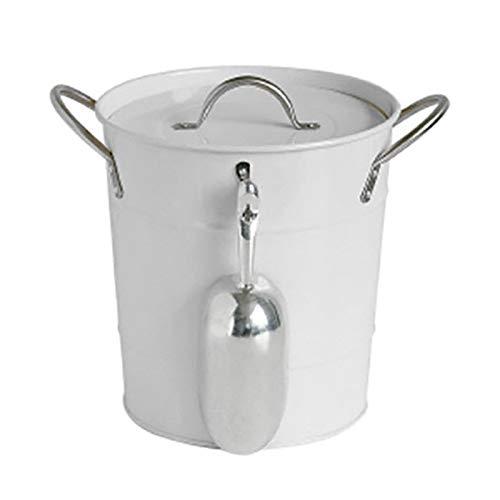 Geepaul Cubo de hielo de 6 litros con tapa y cuchara, contenedor de hielo de metal grueso para bebidas heladas, herramienta de refrigeración para cerveza, cócteles, whisky