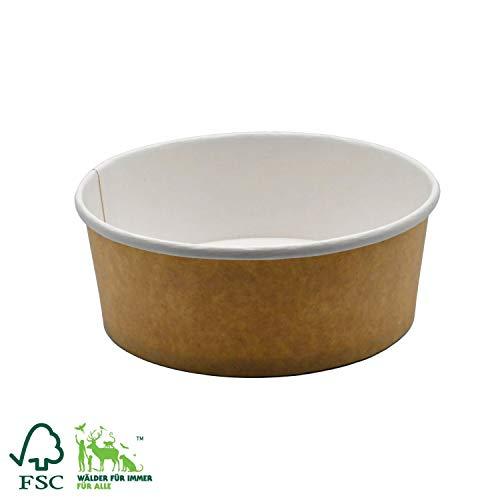 Pack&Cup Bio Einweg Salatschale aus hochwertigem Papier Kraft White 750 ml 50 Stück