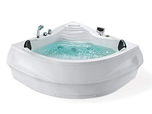 Whirlpool Bañera St. Tropez con 14 Boquillas de Masaje+Calefacción+Desinfección de Ozono + Iluminación bajo el Agua / Luz + Cascada+ Radio - Baño de Burbujas Hot Tub Indoor Interior/Barato