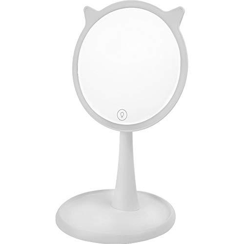 Miroir de Maquillage LED avec Miroir de Maquillage de Bureau léger La Base Portable Rechargeable à Angle réglable Peut Stocker des Choses Miroir de Maquillage Blanc