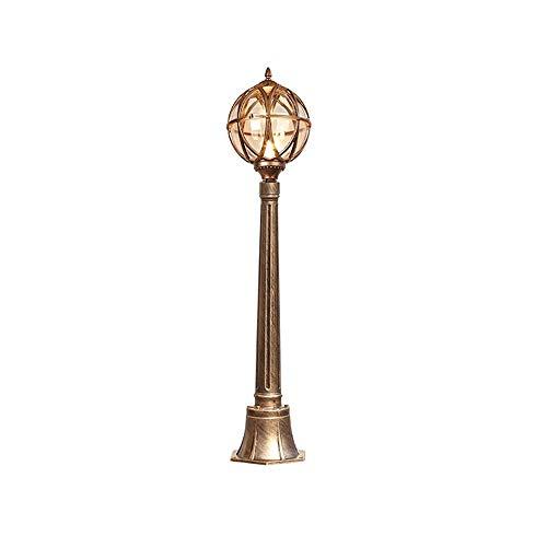 KMYX buitenlamp voor buitenplaats, boom, retrolamp, buitenverlichting, glas, rond, lampenkap, lantaarn, E27, waterdicht IP55 (kleur: brons)
