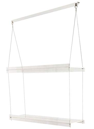 SupremeTech Hanging Acrylic Shelves for Windows (16' Wide, 2 Shelves - 35' Tall)