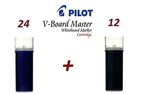 Pilot-24 Recambios Pilot V Board Master Azul + 12 Recambios Negro + Marcapaginas con Lupa