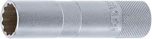 BGS 2448 | Vaso para bujías con goma, 12 caras, largo | entrada 10 mm (3/8') | 16 mm