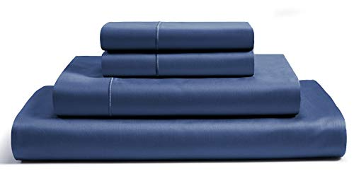 Chateau Home Collection 100% Egyptian Cotton 4-Piece Sheet Set 800 Thread Count 16 inch Deep Pockets (fits upto 18' mattresses) Solid Sateen Weave Hotel Luxury Soft Comfort Bedding (Queen, Dark Denim)