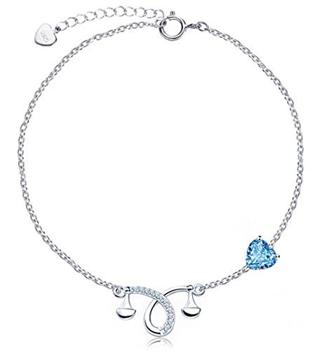 925 Sterling Silber Armband Mode Trend Verstellbare Armband Geburtstagsgeschenk Damen Geschenk 12 Sterne Bilder-Waage_16 + 3,5 cm.