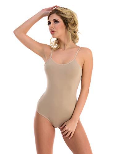 Magi Body para mujer | Body de tirantes para mujer con tirantes finos, tallas S, M, L y XL, ajuste óptimo | Body para mujer beige XXL