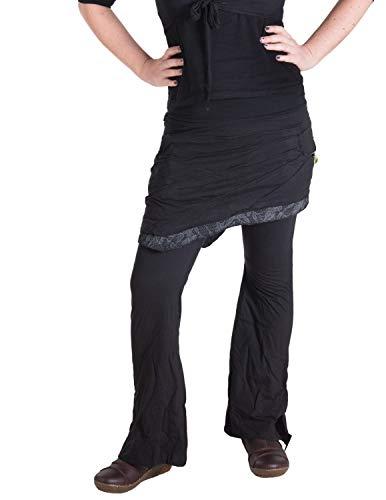 Vishes - Alternative Bekleidung - Hippie Schlag Hose mit asymmetrischem Patchwork Rock Schwarz 38