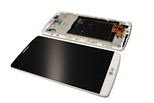 LG G3 D855 LCD Display Screen Glas Front Scheibe Rahmen White Original Neu