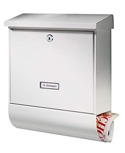 BURG-WÄCHTER Briefkasten mit Zeitungsfach und Namensschild, Verzinkter Stahl, Einwurf-Format DIN C4, Inkl. 2 Schlüssel, Seculine 2500 W, Weiß