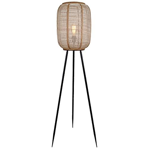 Lightbox Lampada a stelo a 3 gambe Nature-Style 1,3 m altezza interruttore a pedale, 1 x E27 metallo/tessuto/bambù, colore: nero/naturale